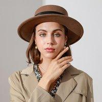 Stingy Brim Hats High Quality Wool Felt Women Fedora Panama Caps Fall Winter Keep Warm Sunscreen Sunbonnet Hat Ladies Fashion Jazz Cap
