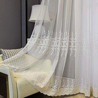 Curtain & Drapes White Floral Sheer Curtains For Living Room Embroidered Flower Velvet Bottom Lace Voile Organza Gazebo Sliding Door Panel