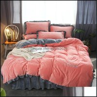 Bedding Supplies Textiles Home & Gardenbedding Sets 4Pcs Thickening Down Embroidery Luxury Queen King Size Duvet Er Set Bed Skirt Pillowcase
