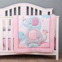 Set di biancheria da letto per bambini per culla da ragazza ossea Cuna trapunta Cot paraurti Proteggere fiato Elephant Flowers Set