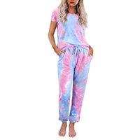 2021 Yaz Krave Boya Pijama Set Kadın Pijama Leopar Pijama Lounge Giyim Kadın Kısa Kollu Artı Boyutu Gecelikler Ev Takımları