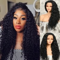 26'' Black Kinky Curly Wigs Glueless Heat Resistant Fiber Hair With Natural Hairline Synthetic Lace Front Wig For Women