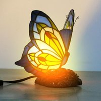 Modern Desk Lamp American Stained Glass Cartoon Butterfly Night Lighting Bedroom Children's Room Bedside Cute Decor Table Light Decorative O