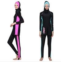 Donne Manica lunga Musulmana Costumi da bagno Costumi da bagno islamica Full Face Hijab Swimming Beachwear Sport Abbigliamento Burkinis