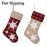 Personalizado Navidad Ropa de cama Rojo Plaid Sock Copo de nieve Patrón de Navidad Árbol Colgante Colgante Casa Festival Decoraciones Medias
