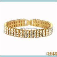 Tennis Bracelets Jewelryeuropean And American -Selling 1.2Cm Hip Hop Three-Row Diamond Bracelet Mens Fashion Jewelry Factory Drop Delivery 2