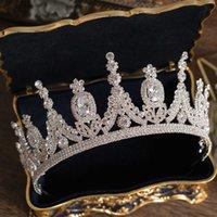 Luxury Tiaras And Crowns CZ Zirconia Princess Pageant Engagement Headband Wedding Hair Accessories Evening Dress Bridal Jewelry 211006