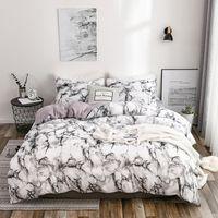 2/3 قطع الرخام نمط الفراش مجموعات حاف غطاء سرير مجموعة توأم مزدوجة الملكة لحاف الكتان