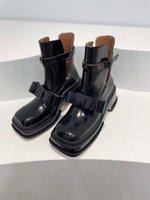 Wczesna wiosna Moda Retro Bow Botki Patent Skórzany Półceenek Północny Hollow Out Heeled Buckle Pojedyncze buty z grubymi podeszwami wysokiej jakości