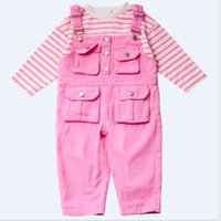 Clothing Sets Toddler Kids Baby Girls Autumn Full Sleeve Striped Top Shirts Solid Overalls Packet Children Fashion Clothes Set 2pcs 1-6Y