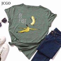 Jcgo Sommer Baumwolle Frauen T-shirt S-5XL Plus Größe Kurzarm Lustige Kostenlose Bananen-Druck T-Shirt Tops Casual O-Neck Weibliche T-Shirt 210322
