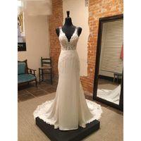 Other Wedding Dresses Real Image Mermaid Deep V Neck Sheer Straps Open Backless Appliques Lace Spandex Bridal Gowns Vestidos De Noiva
