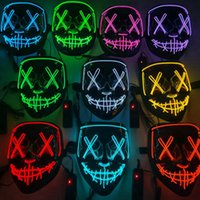 10 colori Halloween Mask spaventoso Cosplay Led Maschera Maschera Light Up El Wire Filo Maschera orrore Glow In Dark Masque Festival Maschere per feste CYZ3232