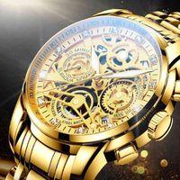 Montre-bracelet NEKTOM 2021 Hommes Supplément Top Marque Gold Montre Inox Male Montres de Sports de quartz jaune pour homme
