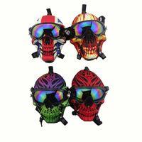 Силиконовая маска для газа Bong творческий череп узор акриловая водяная труба с солнцезащитные очки сухая трава курить нефть горелки многофункциональный кальян Shisha