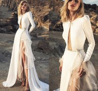 Bohemian Fashion Long Sleeve Wedding Dresses 2022 Matte Stain Sexy Slit Jewel Neck Shiny Beaded Country Outdoor Bridal Dress
