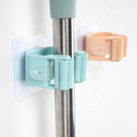 Creative Powerful Tracels Pulley Mop Clip No Hole Hanging Broom Rack Bathroom Hook