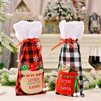 Weihnachtsbüffel-Plaid-Weinflaschenabdeckungen mit Faux-Pelzmanschette Weihnachten Geschenk-Taschen Home Dinner Party Tischdekor GWB10652