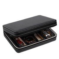 8 슬롯 휴대용 시계 상자 여행 케이스 주최자 블랙 스토리지 박스