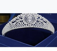 Vintage Queen Crown Zircon Tiara Wedding Bridal Headband Crystal Rhinestone Hair Accessories Jewelry Headpiece Band Headdress Hairband