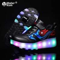 Size 28-43 Glowing Wheel Shoes for Kids Roller Skate Shoes with Lights Children Boys Girls Usb Charged Luminous Shoes with Wheel Q0629