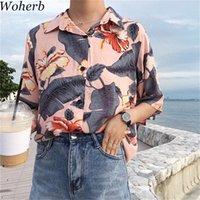 Woherb 2019 Мода Летние Топы Цветочные Печать Богемные Блуза Рубашки с коротким рукавом Повседневная Корейский Blusas 75001 P20Q #