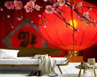 Wallpapers Papel De Parede Traditional Red Lantern And Peach Blossom Chinese Style 3d Wallpaper,living Room Tv Bedroom Restaurant Mural