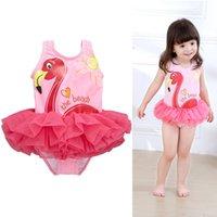 플라밍고 아기 소녀 비키니 바닥 원 - 조각 Tutu 공주 드레스 의류 유아 유아 키즈 핑크 수영복 어린이 목욕