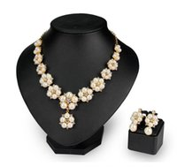 Jewelry Set for Women, Rhinestone Pearl Necklace Earrings Two-piece Suit Shiny, Bridal Bridesmaid Wedding Banquet Dress Jewelrys