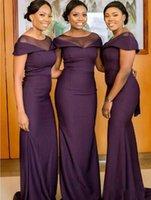 South African grape Bridesmaid Dresses Mermaid Scoop Cap Sleeves Floor Length Long maid of honor Wedding Party Dress