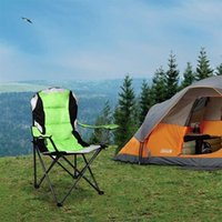 US stockg portable folding Camp chair Furniture 600D Oxford PVC powder coated steel tube frame camper stool with cup holder and pad storage bag