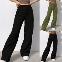 Women's Jeans Vintage Baggy Ripped Straight Wide Women Aesthetic Boyfriend Casual Pants High Waist Solid Color Denim Trousers T5