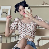 Women's Blouses & Shirts Herstory Print Holiday Beach Summer Tops Korean Sweet Floral Short Women French Sexy Party Bandage Off Shoulder
