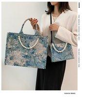 Stuff Sacks Handbags Large Capacity Shoulder Bags Women Flowers Pearl Tote Bag Cloth Shopper Letter Printing Handbag Ins