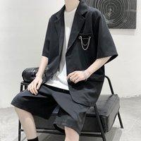 Erkek Takım Elbise Blazers Yaz Casual Suit Kore Moda Yakışıklı Kısa Kollu Ceket Şort 2-piece Set Öğrenciler ve Aşıklar için Set Giysileri
