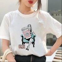 Pazartesi Bayan Üstleri Kahve T Gömlek Kadın Kişilik Tshirt Harajuku Estetik Yaz İnce Bölüm Beyaz Kadın Giyim