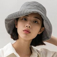 Wide Brim Hats Women Sun Hat Designer Spring Summer Unisex Black White Plaid Big Eaves Sunshade Houndstooth Fisherman Basin Cap Wholesale