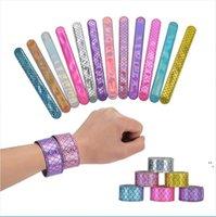 Девушки русалки блестики SLAP Snap браслет партии сияющий браслет мода детей мальчиков ювелирные изделия красочные детские день рождения Partys подарок OWB6731