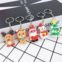 Party Favor Christmas mascot Santa Claus Keychain Snowman Elk Doll Xmas Tree Soft Glue Key Ring Pendant ZWL385