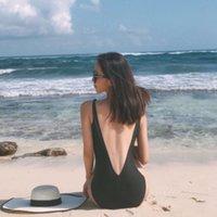 Mayo Kore Siyah Basit Açık Geri Seksi Kapak Belly Üçgen V Yaka Bahar Beach Resort One Parça Kadın