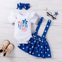 Clothing Sets Toddler Baby Girls Outfits Independence Day Summer Strap Dress Three-piece Suit Children's Dziewczyna Zestawy