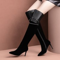 Cow Suede Leather Boots Long Boots Women Sexy High Heel Woman Winter New Thigh High Female Shoes