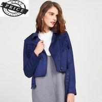 Women's Jackets Tassel Women Spring Turn-Down Autumn Collar Zipper Outerwear Slim Fashion Comfortable Coats Female Temperament ZX828