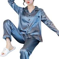 여성 잠옷 잠옷 가을 긴 소매 mujer pijamas 섹시한 나이트웨어 2 PCS 실크 새틴 잠옷 세트 여성 플러스 사이즈 211007