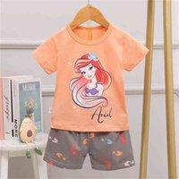 Pijamas de verano Set para niñas Est dormir Ropa para dormir Unicornio Unicornio Manga corta Ropa de dormir para niños Ropa interior infantil Pijama junior 210728