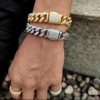 15mm Hip Hop Flip Double Row Zircon Cuban Bracelets Bangle for Men Rapper Jewelry