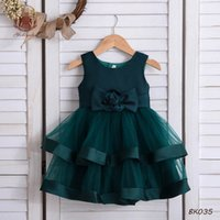 Girl's Dresses Baby Girls Kids Clothes Child Lace Princess Summer 1st Birthday Dress Bowknot Pettiskirt Party Formal Tiered Skirts B5450