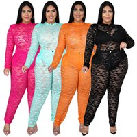 Women's Two Piece Pants INS Plus Size Women Clothes E Long Sleeves Bodysuit Top Sexy See Through Lace Nightclub Party Outfits Ladies Autumn