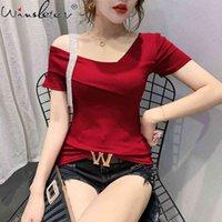 Kadın T-shirt Yaz Avrupa Giysileri Moda Asimetrik Seksi Oymak Pırlanta T-shirt Kadınlar Ropa Mujer Botting Shir Tops