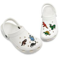 MOQ = 100pcs 귀여운 공룡 매력 부드러운 PVC 신발 매력 액세서리 장식 사용자 정의 Jibz Clog 신발 어린이 선물